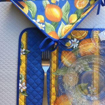 """Panière à lacets en coton enduit, """"Citrons"""" jaune et bleu"""