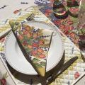 """Round tablecloth in cotton, diameter 91"""" """"Roses et Lavandes"""" by TISSUS TOSELLI"""