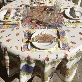 "Round tablecloth in cotton, diameter 91"" ""Roses et Lavandes"" by TISSUS TOSELLI"