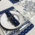 """Rounb tablecloth in cotton """"Avignon"""" blue and white by """"Marat d'Avignon"""""""