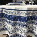 """Nappe provençale ronde en coton """"Avignon"""" bleue et blanche """"Marat d'Avignon"""""""