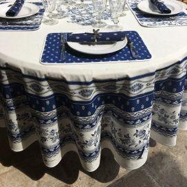 """Nappe provençale ronde en coton, diamètre 230cm """"Avignon"""" bleue et blanche """"Marat d'Avignon"""""""