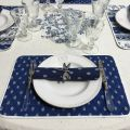 """Coated cotton round tablecloth """"Avignon"""" white and blue by """"Marat d'Avignon"""""""