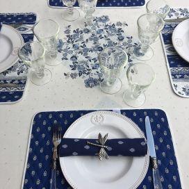 """Nappe provençale ronde en coton enduit """"Avignon"""" Blanc et bleu """"Marat d'Avignon"""""""