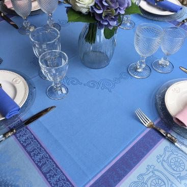 """Square Jacquard polyester tablecloth """"Lavandiere"""" lavender color from """"Sud Etoffe"""""""