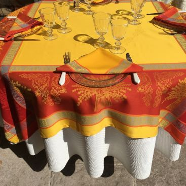 "Rectangular Jacquard polyester tablecloth ""Lavandiere"" orange color from ""Sud Etoffe"""