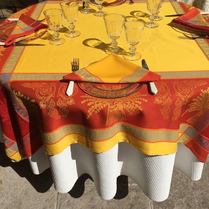 """Nappe rectangulaire Sud Etoffe Jacquard polyester  """"Lavandière"""" orange"""