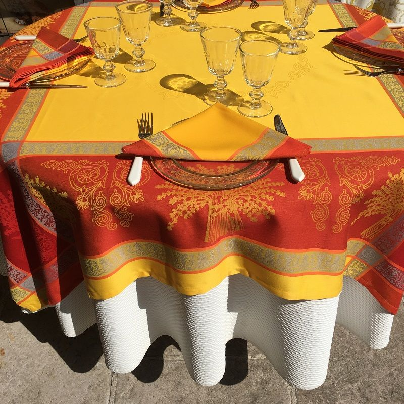 """Rectangular Jacquard polyester tablecloth """"Lavandiere"""" orange color from """"Sud Etoffe"""""""