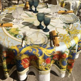 "Tessitura Toscana Telerie, square linen tablecloth ""Borea"""