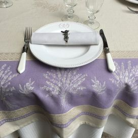 "Provence rectangular tablecloth in cotton ""Valensole"" lavender color"