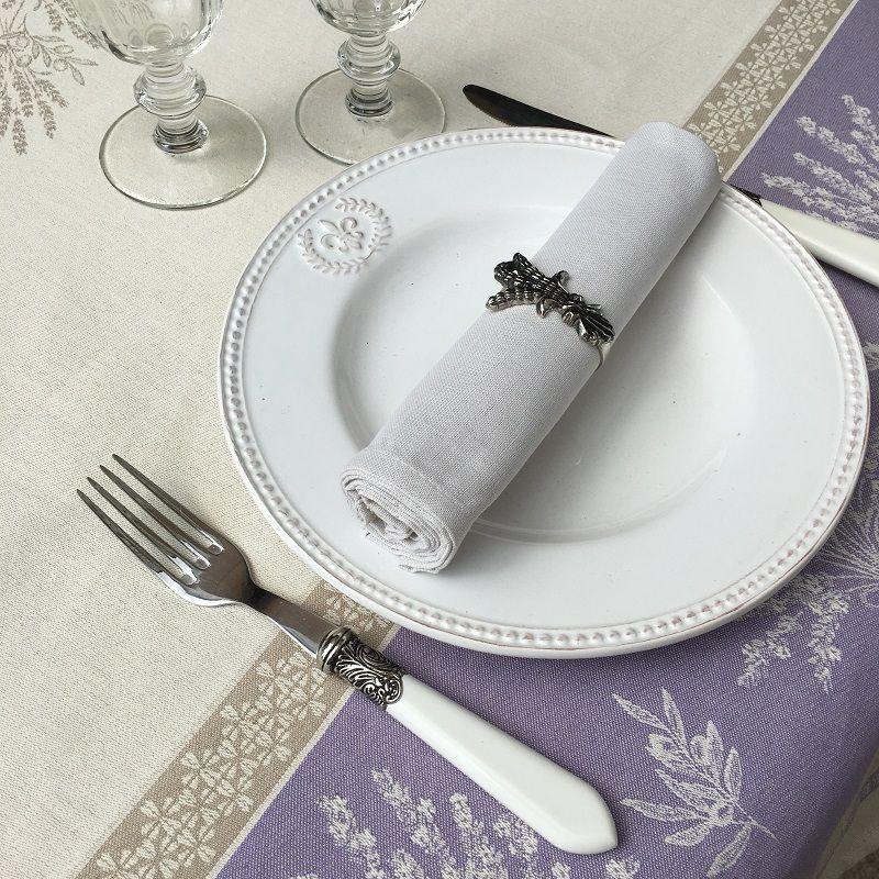 """Provence square tablecloth in cotton """"Valensole"""" lavender color"""