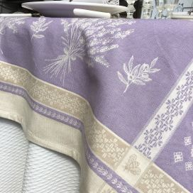 "Provence square tablecloth in cotton ""Valensole"" lavender color"