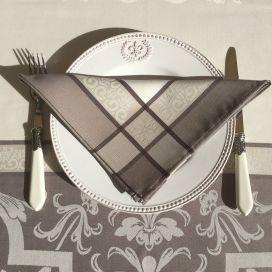 "Serviette de table Sud Etoffe ""Eygalière"" taupe"