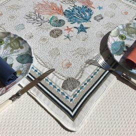 """Carré de table en Jacquard """"Bonifaccio"""" écru, Tissus Toselli"""