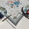 "Jacquard square table mats  ""Bonifaccio"" ecru, Tissus Toselli"