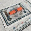 """Set de table Jacquard """"Bonifaccio"""" écru  Tissus Toselli, Nice"""