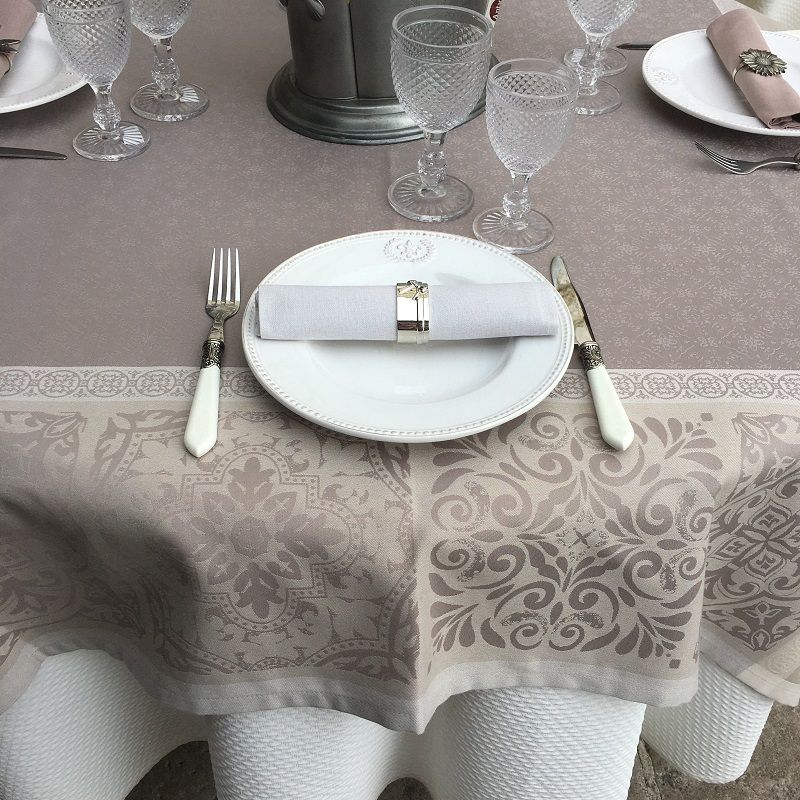 """Rectangular Jacquard polyester tablecloth """"Alicante"""" naturel and taupe from """"Sud Etoffe"""""""