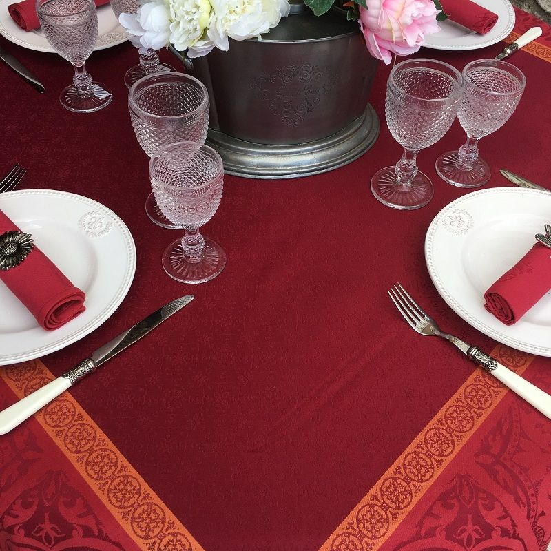 """Rectangular Jacquard polyester tablecloth """"Alicante"""" red from """"Sud Etoffe"""""""