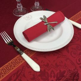 "Square Jacquard polyester tablecloth ""Alicante"" red from ""Sud Etoffe"""