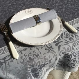 "Rectangular Jacquard polyester tablecloth ""Alicante"" grey from ""Sud Etoffe"""