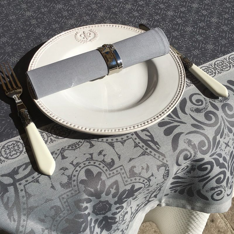 """Rectangular Jacquard polyester tablecloth """"Alicante"""" grey from """"Sud Etoffe"""""""