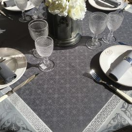 "Square Jacquard polyester tablecloth ""Alicante"" grey from ""Sud Etoffe"""