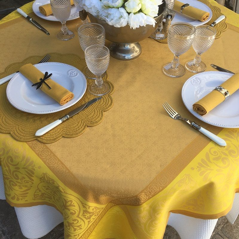 "Rectangular Jacquard polyester tablecloth ""Alicante"" yellow and curry from ""Sud Etoffe"""