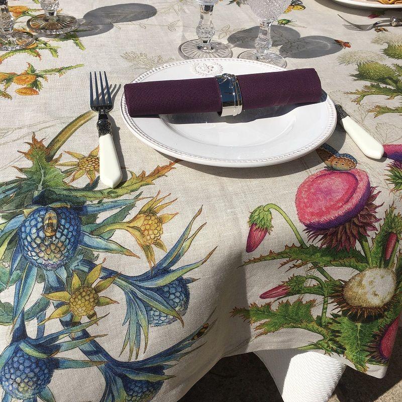 """Tessitura Toscana Telerie, nappe ronde en lin """"Cynar"""""""