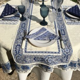 "Jacquard table runner ou square table mats, Delft ecru bordure ""Bastide"" blue and white"