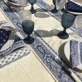 "Jacquard table runner ou square table mats, Delft ecru bordure ""Bastide"" blue and white"