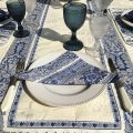 "Jacquard Tablecloth ""Delft"" off white, bordure ""Bastide"" white and blue"