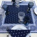 "Quilted cotton table cover ""Bastide"" blue and white"