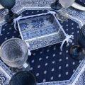 """Tapis de table octogonal en coton matelassé """"Bastide"""" bleu et blanc"""