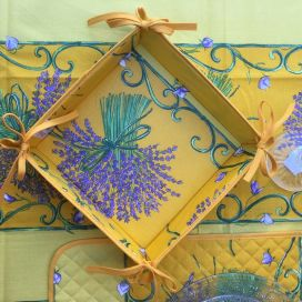 "Coated cotton bread basket with laces, ""Bouquet de Lavande"" yellow"
