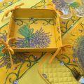 """Panière à lacets en coton enduit, """"Citrons"""" jaune et vert"""