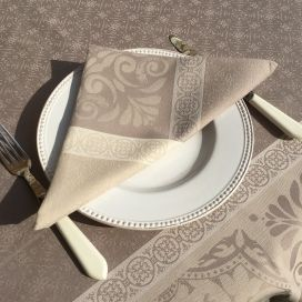 "Serviette de table Sud Etoffe ""Alicante"" naturel et taupe"