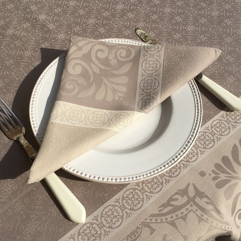 "Table napkins  Sud Etoffe ""Alicante"" naturel and  taupe"