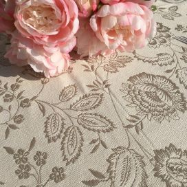 """Round reversible Jacquard tablecloth """"Lamanon"""" off white and beige"""
