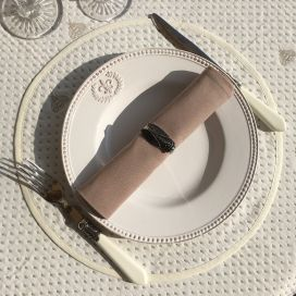 "Reversible Jacquard placemat ""Abeillons"" ecru and beige"