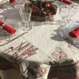 """Square Jacquard tablecloth """"Lugeur"""", Tissus Toselli"""