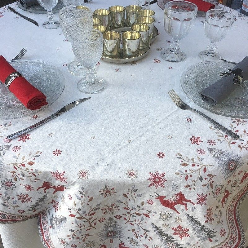 """Square Jacquard tablecloth """"Vallée"""" grey and red, Tissus Toselli"""