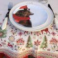"""Square Jacquard tablecloth """"Vallée"""" green and red, Tissus Toselli"""