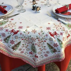 """Jacquard tablecloth """"Vallée"""" green and red, Tissus Toselli"""