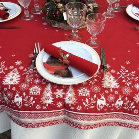 "Square Jacquard tablecloth ""Vallée"" white and red, Tissus Toselli"