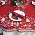 "Square Jacquard tablecloth ""Vallée"" ecru and red, Tissus Toselli"