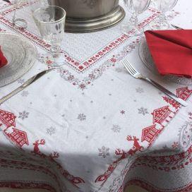 """Nappe carrée Jacquard réversible """"Minuit"""" gris et rouge Tissus Tosseli"""