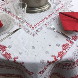 "Square Jacquard tablecloth ""Minuit"" grey and red Tissus Toselli"