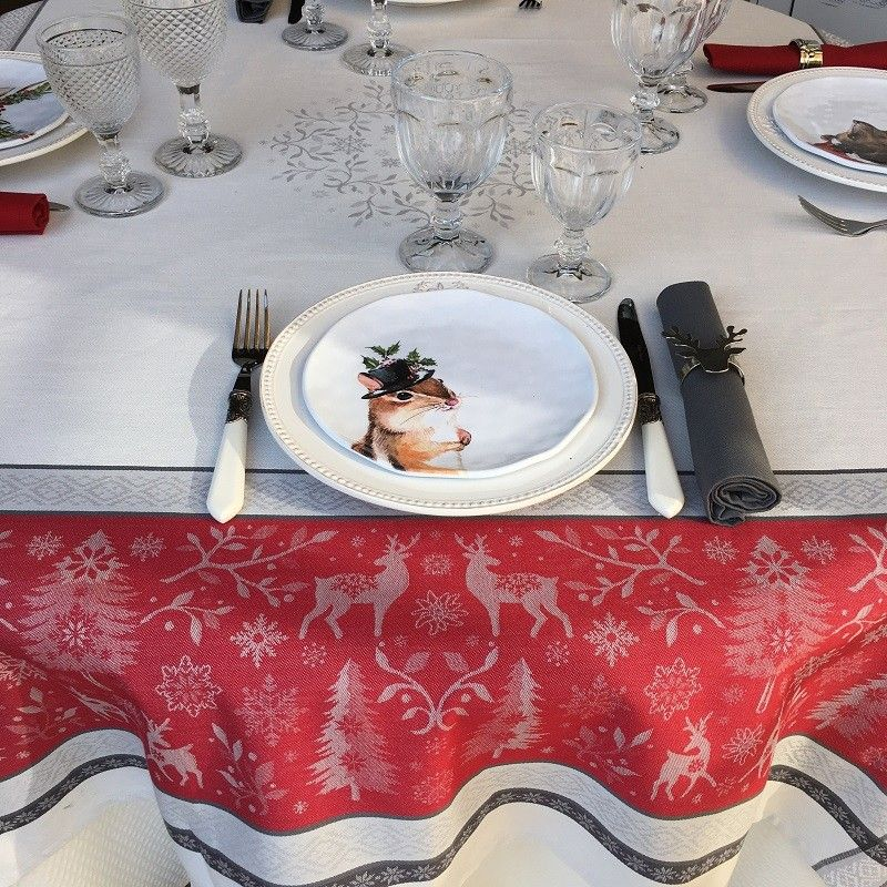 "Square Jacquard tablecloth ""Vars"" grey and red by Tissus Toselli"