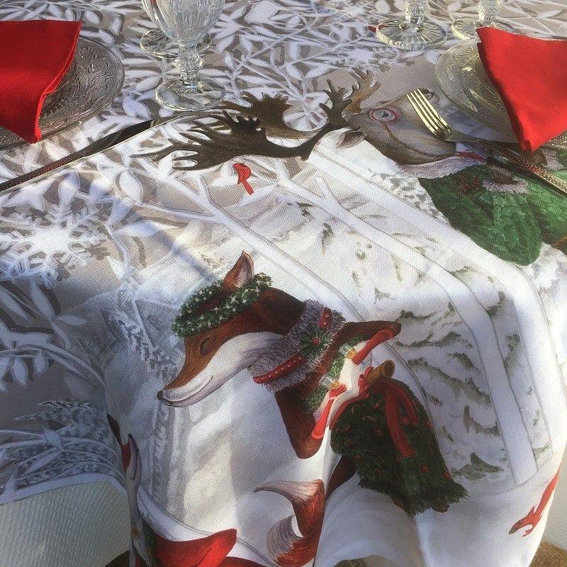 "Tessitura Toscana Telerie, nappe carrée en lin  ""Forest Party"""