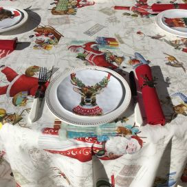 "Tessitura Toscana Tellerie, square coton tablecloth ""Globe Christmas"""